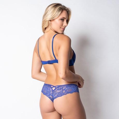Conjunto lingerie strappy bra em microfibra lisa e renda K203.B