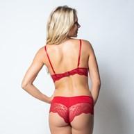 Conjunto lingerie strappy bra em renda com lacinhos em cetim K186.C