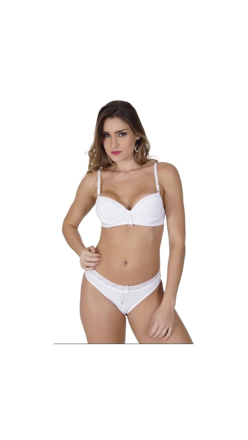 Conjunto lingerie strappy bra em renda com lacinhos em cetim K186.C BRANCO