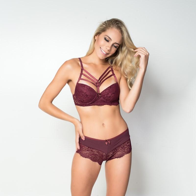 Conjunto lingerie strappy bra em renda com lacinhos em cetim K186.C VINHO