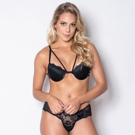 a2d5631296 Conjunto lingerie strappy bra em renda com laço em cetim K52.