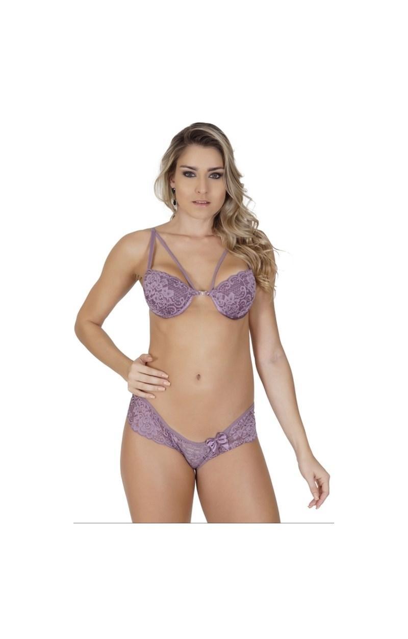 Conjunto lingerie strappy bra em renda com laço em cetim K52.A UVA