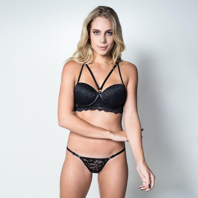 Conjunto lingerie strappy bra em renda com regulagem K261.A 2bbfc5ae0e