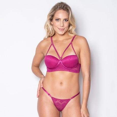 Conjunto lingerie strappy bra em renda com regulagem K261.A