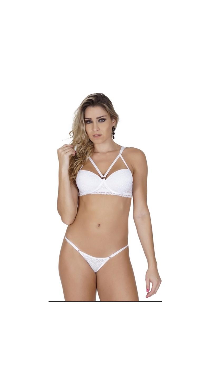 Conjunto lingerie strappy bra em renda com regulagem K261.A BRANCO