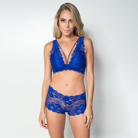 Conjunto lingerie strappy bra em renda lisa com lacinho K187.D
