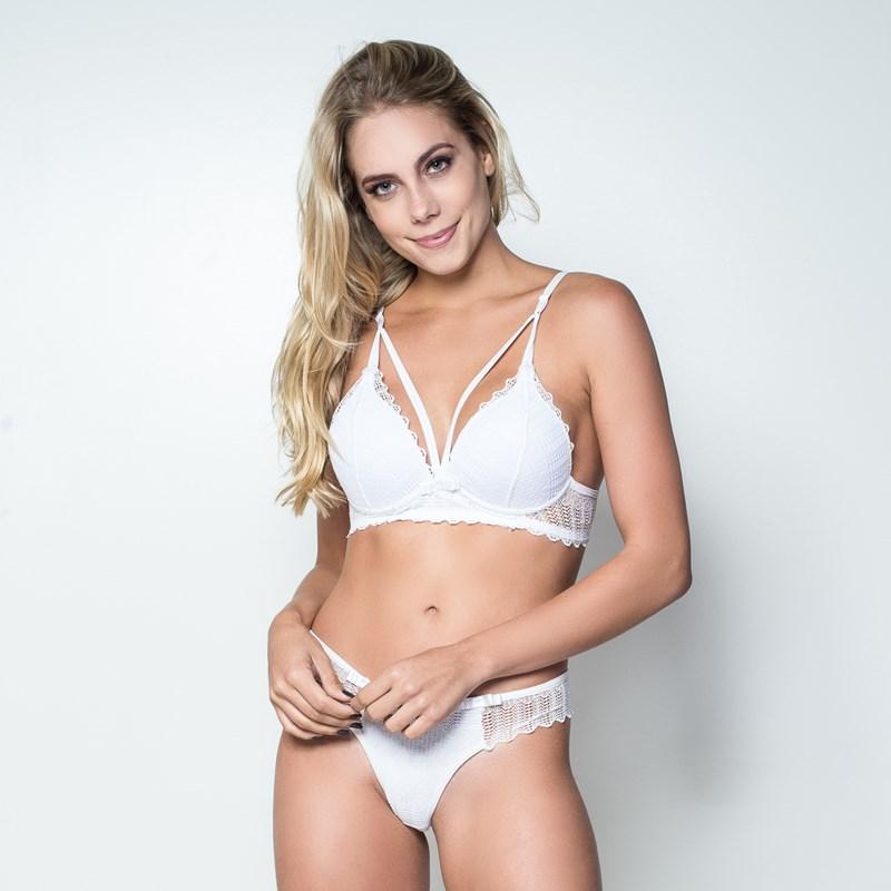 ad8cd00b5 Conjunto lingerie strappy bra em renda lisa trabalhada K39.D BRANCO ...