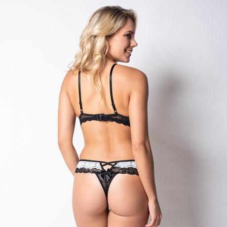 Conjunto lingerie strappy bra em renda sobreposta K159.C