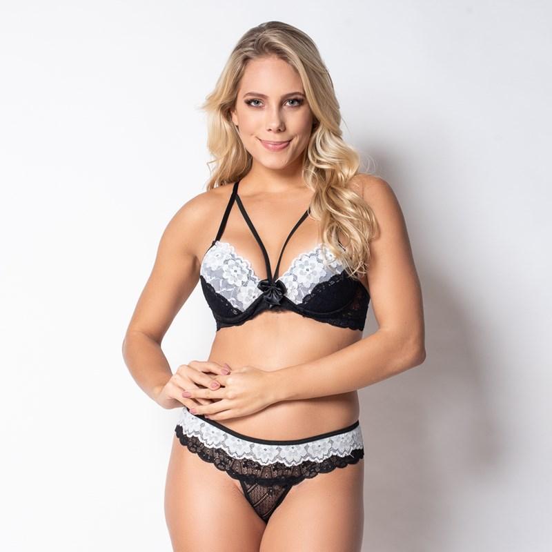 Conjunto lingerie strappy bra em renda sobreposta K159.C 64e87a97ee7
