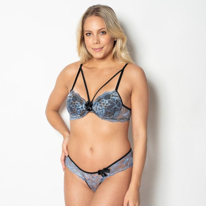 Conjunto lingerie strappy bra em renda sublimada e lacinho K11.E PRETO VARIADO