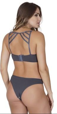 Conjunto lingerie strappy bra linha luxo em microfibra lisa e renda K255.A