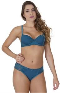 Conjunto lingerie strappy bra luxo em microfibra lisa e renda K242.A
