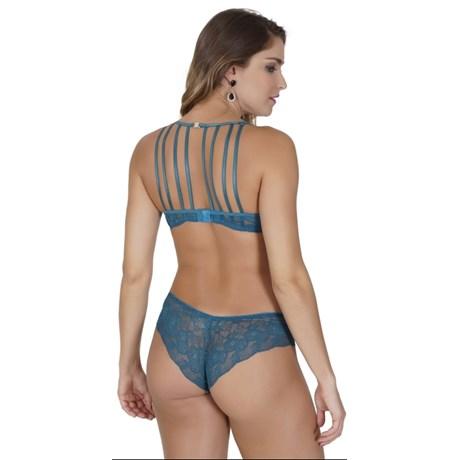 9461f3f76 A Conjunto lingerie strappy bra luxo em microfibra lisa e renda K242.A