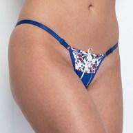 Conjunto lingerie tirinha regulável em microfibra estampada e cetim K96.B