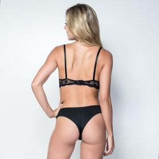 Conjunto lingerie tradicional em microfibra lisa com renda e lacinho K230.A