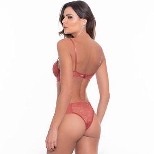 Conjunto lingerie tradicional em renda lisa com lacinho K109.C