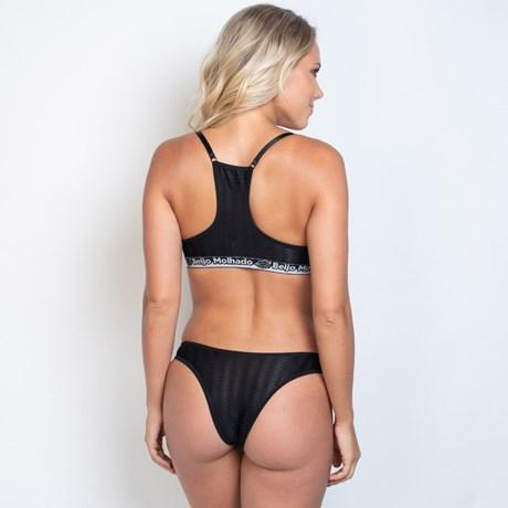 Conjunto lingerie tradicional em tule texturizado e elástico exposto K169.A