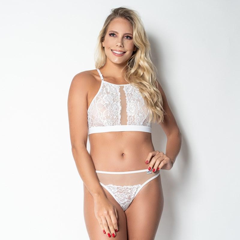 Conjunto Sem Bojo em Tule Transparente e Renda Super Sexy com Elastico Largo no Soutien U24 BRANCO