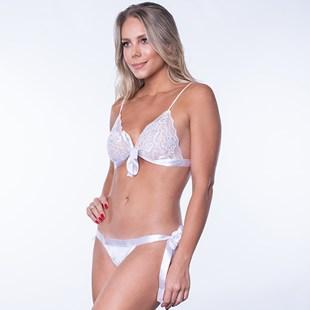 Conjunto Sexy sem Bojo com Cós em Cetim U20.A