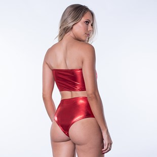 Conjunto Tecido Brilho Calcinha Hot Pant Sutiã Bustiê U19.A