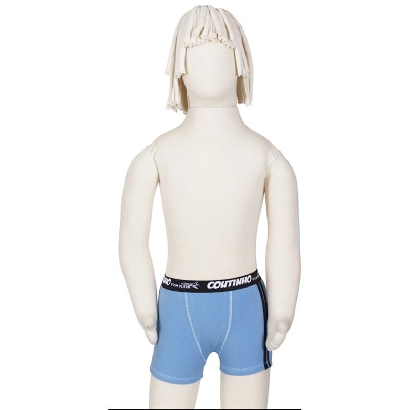 Cueca boxer infantil em cotton liso com elástico exposto E02