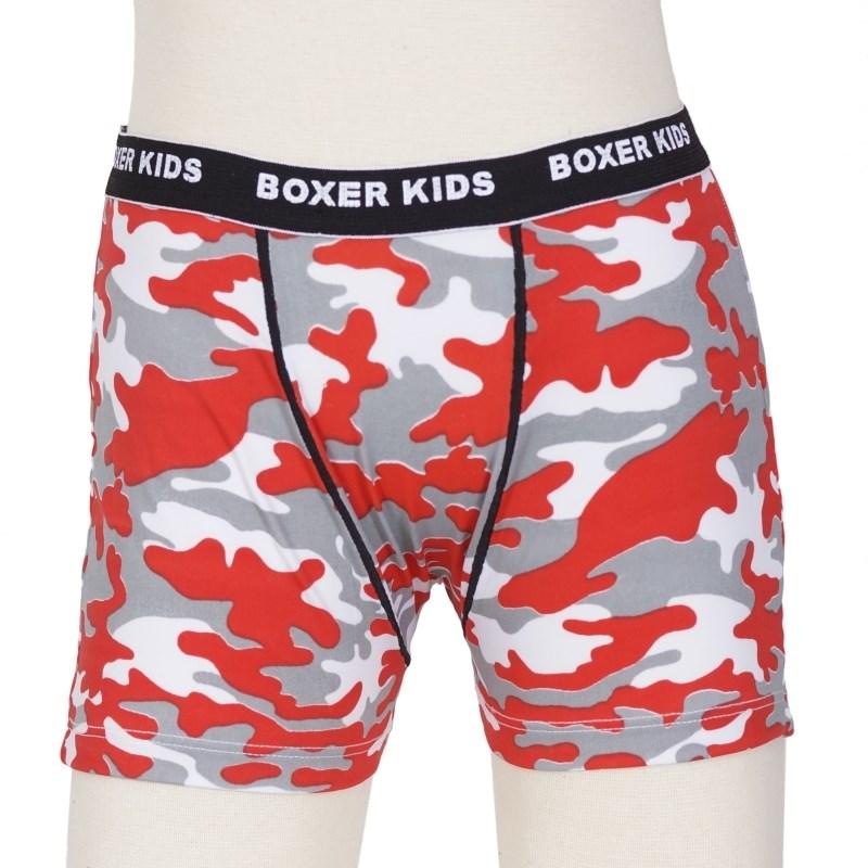Cueca Boxer infantil em liganete estampada e elástico exposto E16 VERMELHO VARIADO