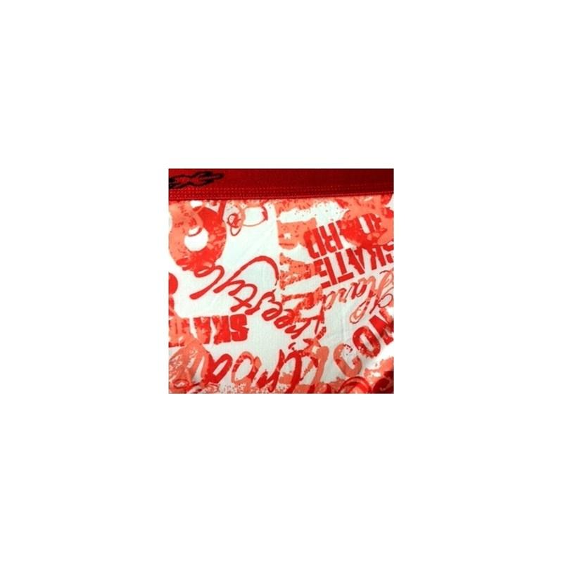 Cueca boxer em microfibra estampada com elástico exposto D30 VERMELHO VARIADO