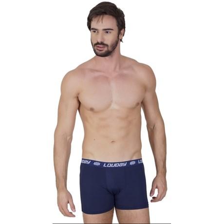 Cueca boxer masculina em microfibra lisa com elástico exposto D62.A