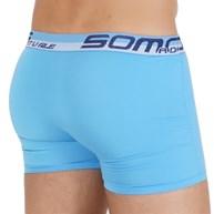 Cueca boxer masculina em microfibra lisa e elástico exposto D94