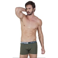Cueca boxer masculina em microfibra risca de giz com elástico exposto D23
