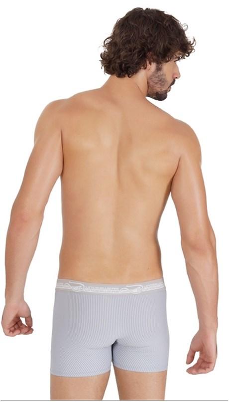 Cueca boxer masculina em microfibra risca de giz com elástico exposto D34