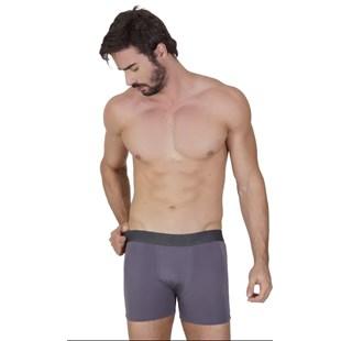 Cueca boxer masculina em microlight lisa com elástico exposto D74.B