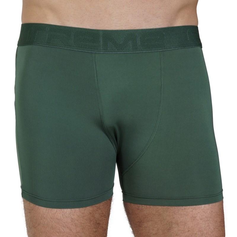 Cueca boxer masculina em microlight lisa com elástico exposto D74.B VERDE ESCURO