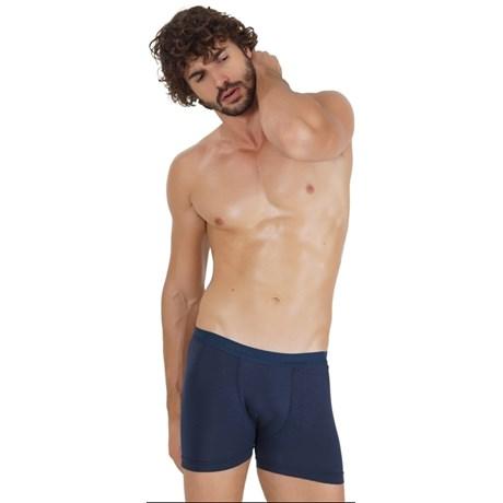 Cueca boxer masculina em modal liso com elástico exposto D14.A