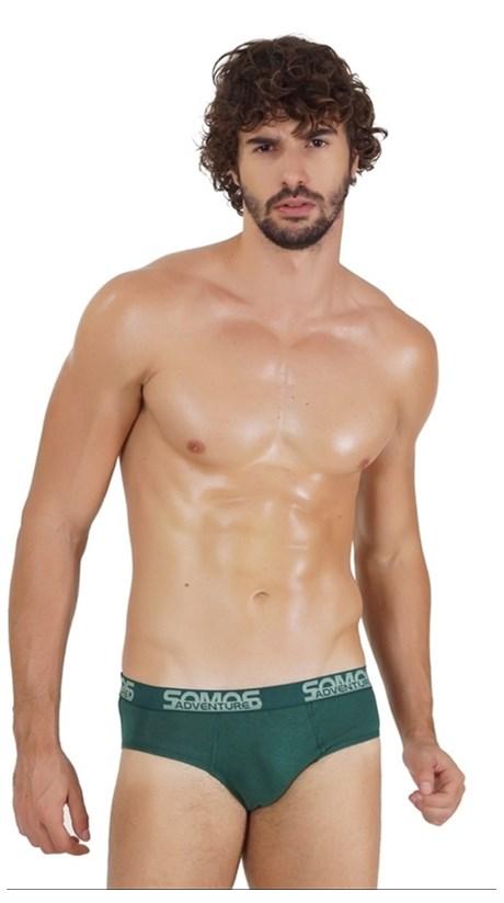 Cueca Slip masculina com Elástico Exposto em Malha lisa D29