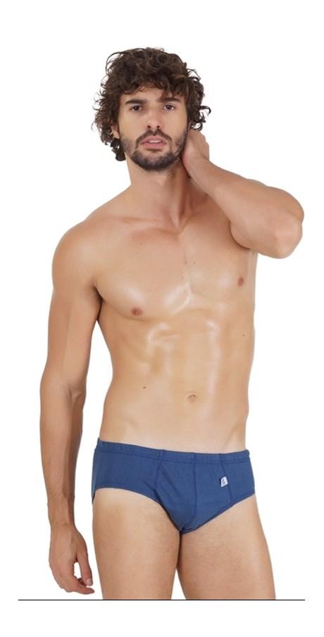 Cueca slip masculina em algodão liso com elástico embutido D77.A