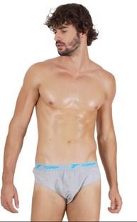 Cueca slip masculina em algodão liso com elástico exposto D46.A