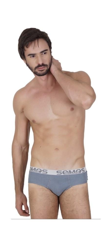 Cueca slip masculina em algodão liso e elástico exposto D28.A