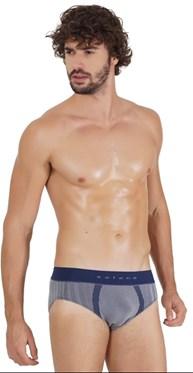 Cueca slip masculina em modal sem costura com elástico exposto D39.A