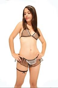 Fantasia sexy de empregada sensual em tule com acessórios M47.B
