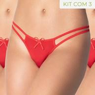 Kit 3 Unidades Calcinha Tanga Super Sexy Strappy em Microfibra KITF14.A