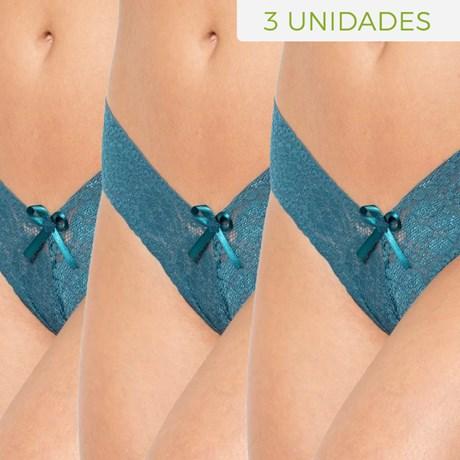 Kit de Tanga sexy em renda com detalhe em lacinho em cetim 3 UNIDADES KITF08.D