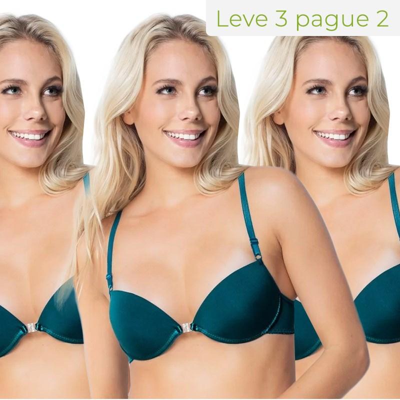 Kit Soutien strappy bra básico em microfibra lisa Leve 3 Pague 2 KITI68.B