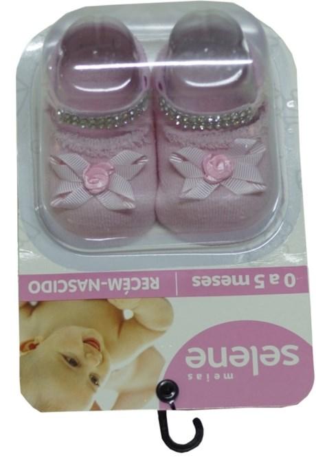 Meia recém nascido feminina em algodão com bijuteria G50.A