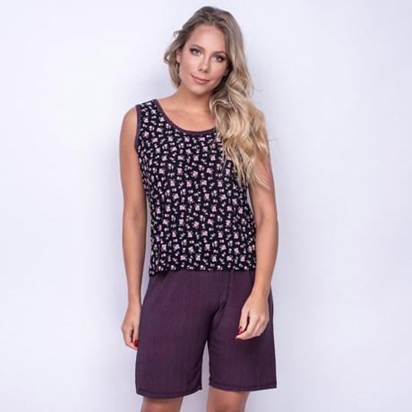 Pijama Conforto em Microfibra Estampada com Short Longo e Camiseta L12.C