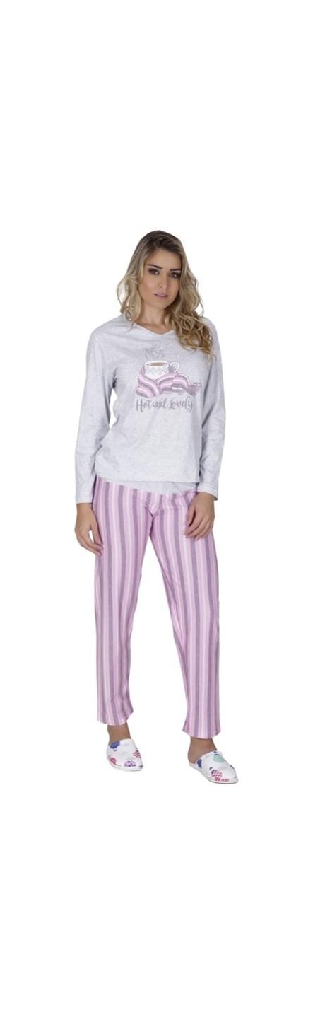 Pijama de inverno em malha estampada com elástico embutido L35.B
