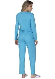 Pijama de inverno em malha lisa canelada com detalhe no ombro L33.A