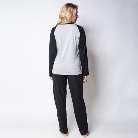 Pijama de inverno manga longa em malha lisa com silk L45.A