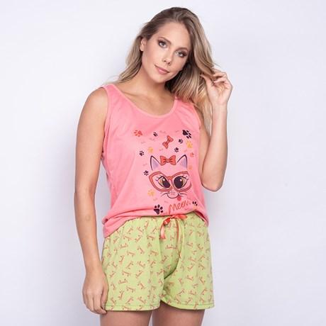 Pijama em Malha Conforto Estampada Short Doll O55.B