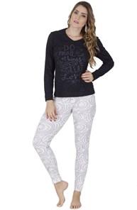 Pijama feminino de inverno em algodão flocado L20.B